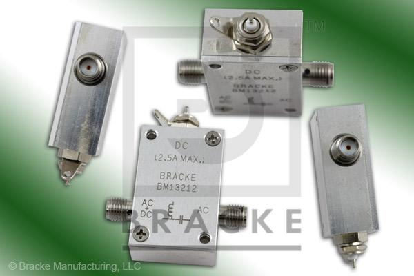 SMA Female Bias Tee, Solder Lug & Pin, Freq. 10 MHz-4 GHz, 2.5 Amps, 100 Vdc, 30 dB Isolation 1.25 Insertion Loss, Max VSWR 1.50:1