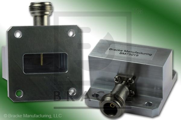 Waveguide to Coax Adapter N Female WR-112 Frequency Range 7.05-10.00 GHz