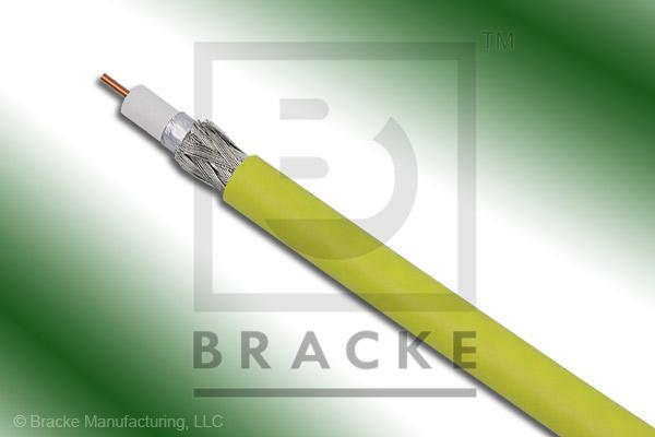 "75 Ohm, 59 Mini Yellow Bulk Cable PVC Jacket, .159"" Dia., 2 Shields Solid Center Conductor .023"""