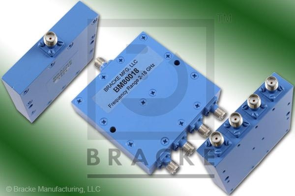 SMA Female Power Divider Frequency Range 8-12.4 GHz 4 Output Ports, VSWR 1.45:1 Max