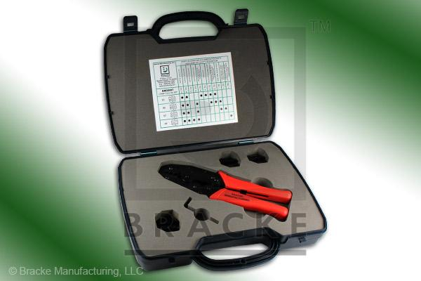 Crimping Tool Kit, 1 Ratchet with 4 Interchangeable Dies