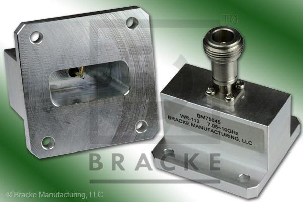 Waveguide to Coax Adapter, End Launch, N Female, WR-112 Frequency Range 7.05-10.00 GHz