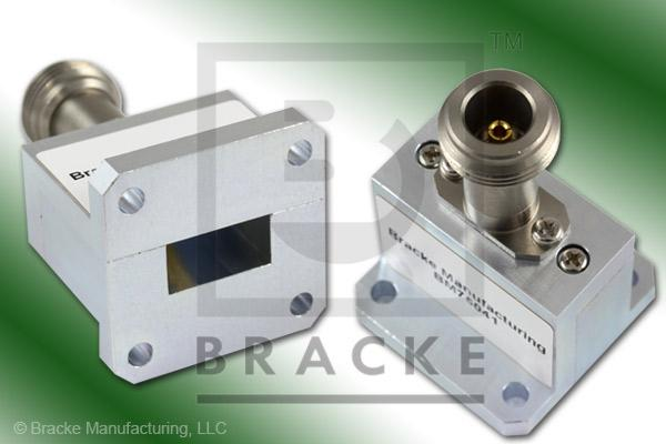 Waveguide to Coax Adapter, End Launch, N Female, WR-62 Frequency Range 12.40-18.00 GHz