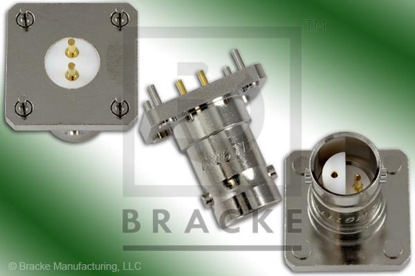 "BNC Twinax Jack .688"" P.C. Mount Connector .040"" Round Contact"