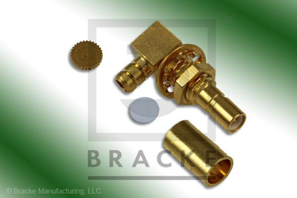 SSMB Jack Bulkhead Right Angle Connector Crimp LMR-100A, RG174, RG188, RG316