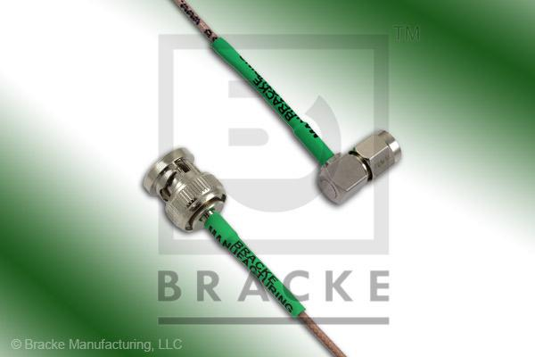BNC Male to SMA Male Right Angle Cable Assembly RG178B/U