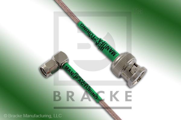 BNC Male to SMA Male Right Angle Cable Assembly RG316/U