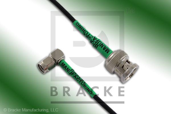 BNC Male to SMA Male Right Angle Cable Assembly RG174A/U