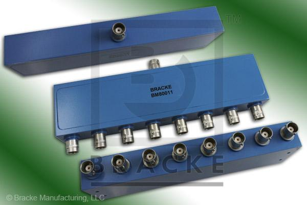 BNC Female Power Divider Frequency Range 2-500 MHz 8 Output Ports, VSWR 1.50:1 Max