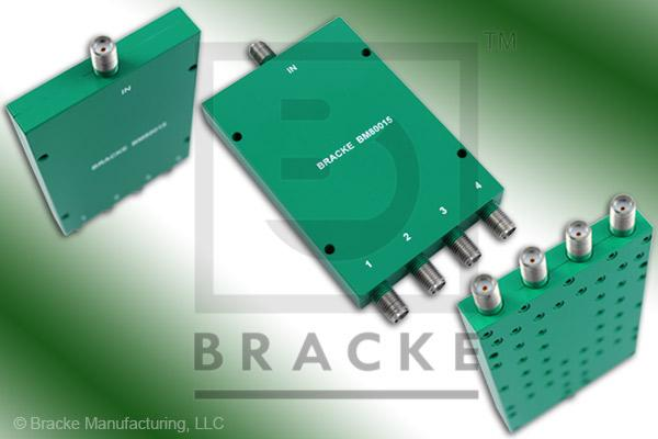 SMA Female Power Divider Frequency Range 2-8 GHz 4 Output Ports, VSWR 1.50:1 Max