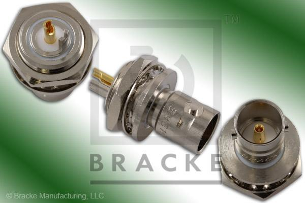 "75 Ohm BNC Female Bulkhead Isolated Ground Connector .500"" Round Hole Solder Cup Contact"