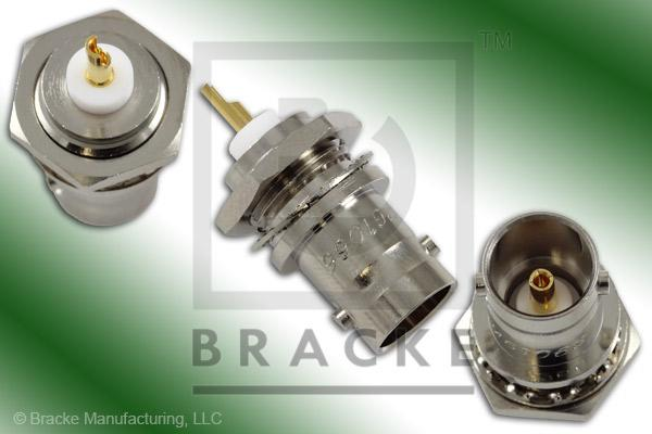 "75 Ohm BNC Female Bulkhead 1/8"" Max Panel Connector .440"" Mounting Hole, Solder Cup Contact"