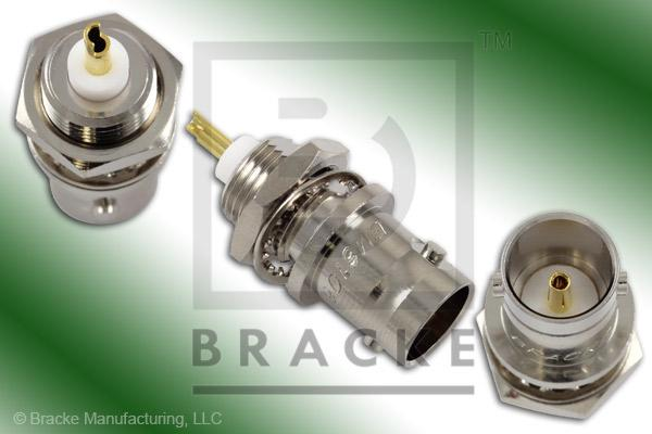 "75 Ohm BNC Female Bulkhead 1/4"" Max Panel Connector .380"" Mounting Hole, Solder Cup Contact"