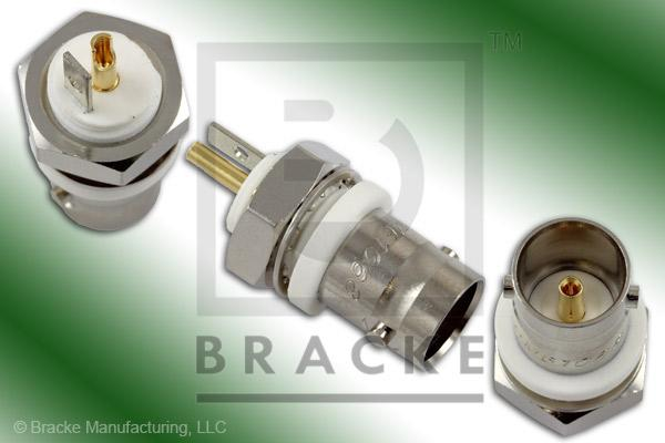 "75 Ohm BNC Female Bulkhead Isolated Ground Connector .380"" Round Hole Solder Cup Contact"