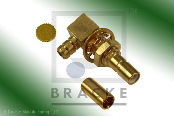 SSMB Jack Bulkhead Right Angle Connector Crimp RG188-Double, RG316-Double