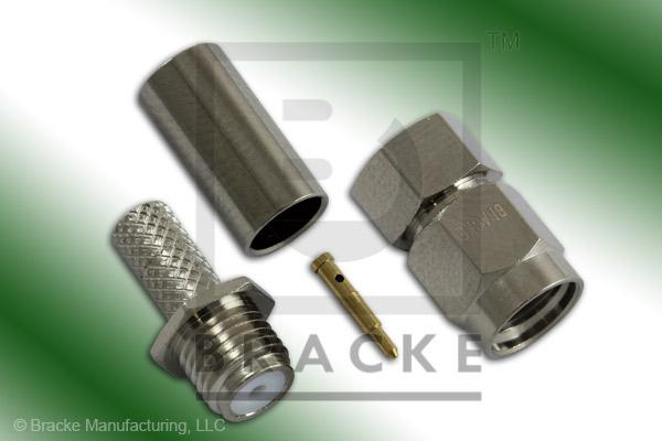 SMA Male Connector Crimp, Captive Contact LMR-195, RG58, TCOM-195