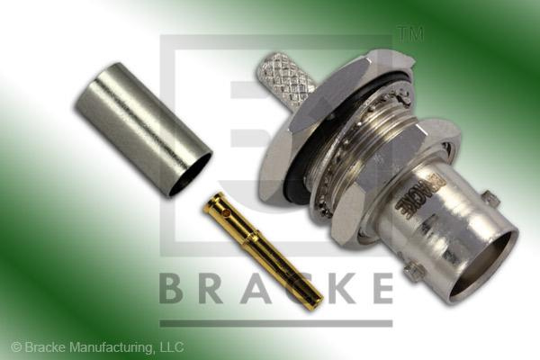 BNC Female Bulkhead Connector Crimp LMR-195, RG58, TCOM-195