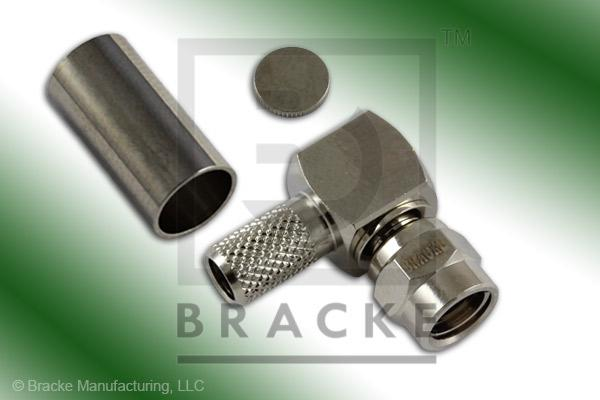 SMC Plug Right Angle Connector Crimp LMR-195, RG58, TCOM-195