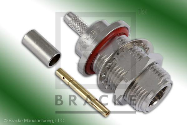 N Female Bulkhead Connector Crimp LMR-195, RG58, TCOM-195
