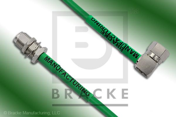 F Male Right Angle to F Female Bulkhead Cable Assembly BM59Mini-Green