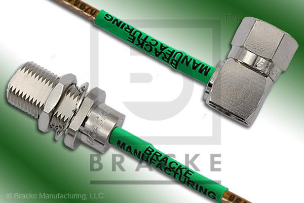 F Male Right Angle to F Female Bulkhead Cable Assembly RG179B/U