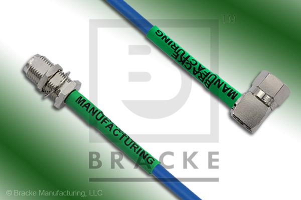 F Male Right Angle to F Female Bulkhead Cable Assembly BM59Mini-Blue