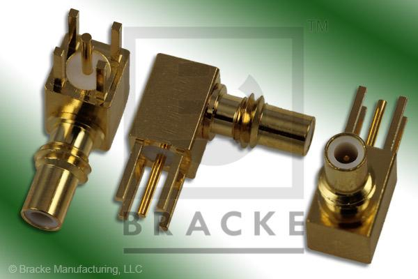 "SSMC Jack Right Angle P.C. Mount Connector .025"" Round Contact"
