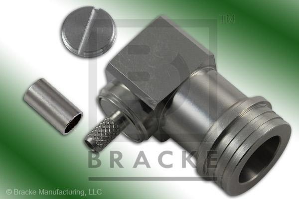 QN Male Right Angle Connector Crimp LMR-195, RG58, TCOM-195