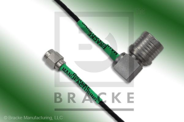QMA Male Right Angle to SMA Male Cable Assembly RG174A/U