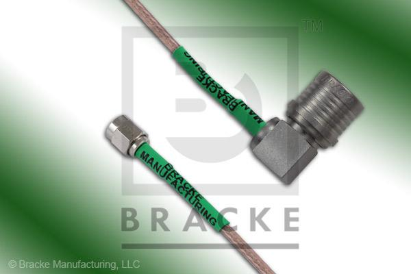 QMA Male Right Angle to SMA Male Cable Assembly RG316-Double