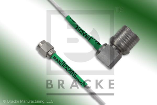 QMA Male Right Angle to SMA Male Cable Assembly RG188A/U