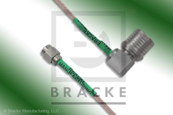 QMA Male Right Angle to SMA Male Cable Assembly RG316/U