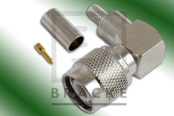 TNC Male Right Angle Connector Crimp LMR-195, RG58, TCOM-195