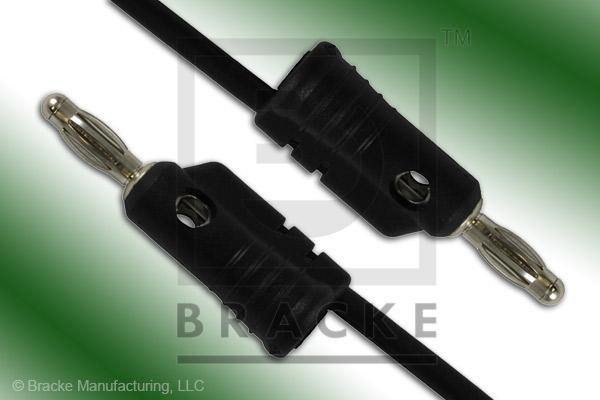 Stacking Banana Plug to Stacking Banana Plug Assembly Patch Cord Single Black Lead, 12""