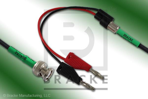 "BNC Male to Standard Stacking Banana Plugs Cable Assembly RG223/U with 6"" Red & Black Leads"