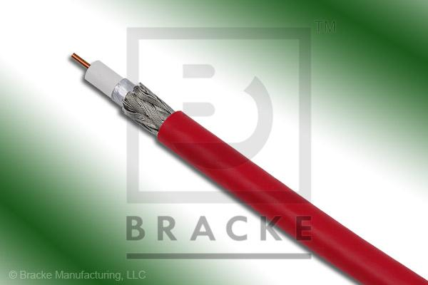 "75 Ohm, 59 Mini Red Bulk Cable PVC Jacket, .159"" Dia., 2 Shields Solid Center Conductor .023"""