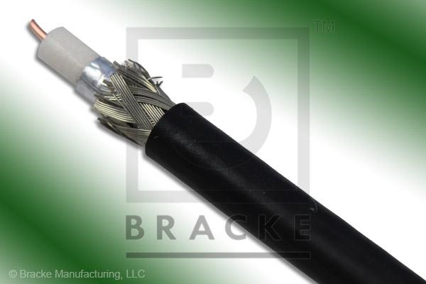 "75 Ohm, 59 Mini Black Bulk Cable PVC Jacket, .159"" Dia., 2 Shields Solid Center Conductor .023"""