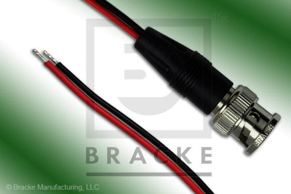 "BNC Male to Unterminated #20 AWG Leads Molded Breakouts with Black and Red 6"" Leads"