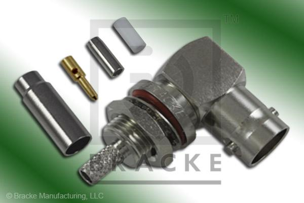 BNC Female Bulkhead Right Angle, Front Mount Connector Crimp RG188-Double, RG316-Double