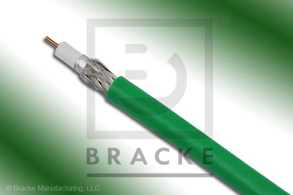 "75 Ohm, 59 Mini Green Bulk Cable PVC Jacket, .159"" Dia., 2 Shields Solid Center Conductor .023"""