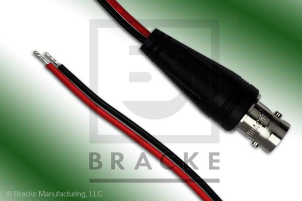 "BNC Female to Unterminated #20 AWG Leads Molded Breakouts with Black and Red 6"" Leads"