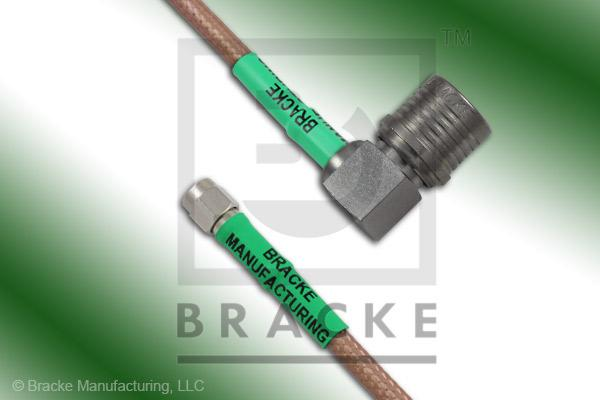 QMA Male Right Angle to SMA Male Cable Assembly RG142B/U