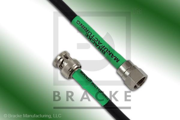 F Male to 75 Ohm BNC Male Cable Assembly RG59B/U