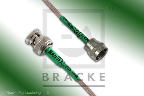 F Male to 75 Ohm BNC Male Cable Assembly RG179B/U