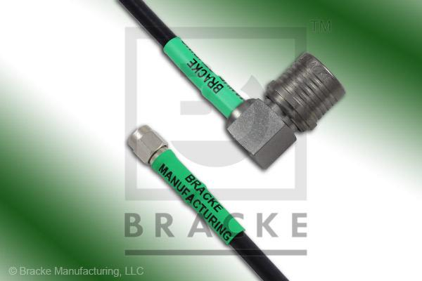 QMA Male Right Angle to SMA Male Cable Assembly RG223/U
