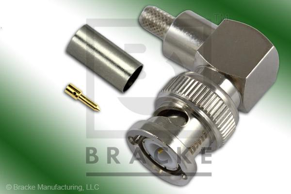 BNC Male Right Angle Connector Crimp LMR-195, RG58, TCOM-195