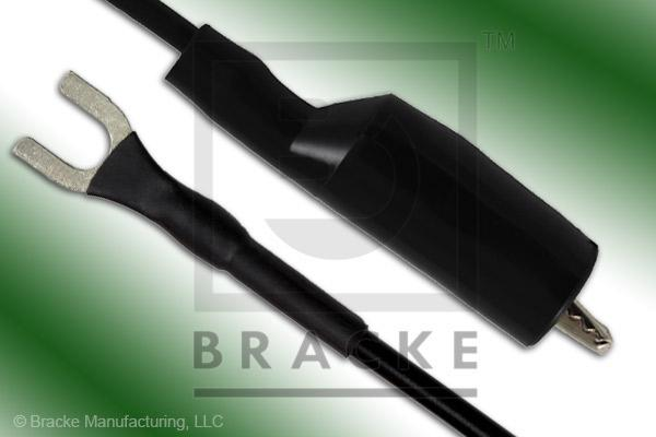Alligator Clip to Insulated Spade Lug Patch Cord Assembly Single Black Lead, 12""