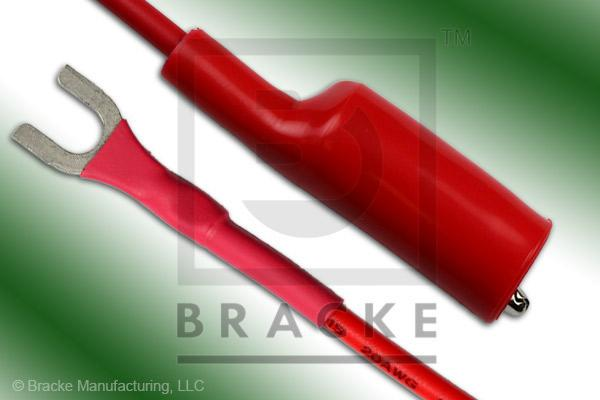 Alligator Clip to Insulated Spade Lug Patch Cord Assembly Single Red Lead, 24""
