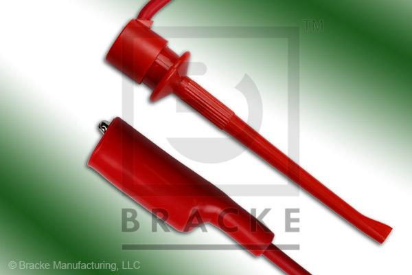 Alligator Clip to Safety Hook Patch Cord Assembly Single Red Lead, 12""