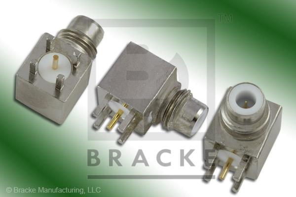"75 Ohm SMC Jack Right Angle PC Mount Connector .038"" Round Contact"